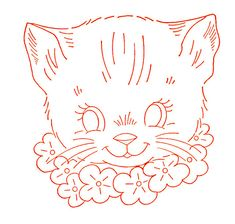 Vintage cat embroidery transfer