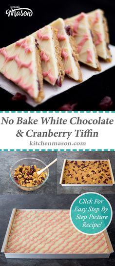 No Bake White Chocolate Cranberry Tiffin Chocolate Cocktails, Chocolate Recipes, Chocolate Cakes, Tray Bake Recipes, Baking Recipes, Baking Ideas, Easy Desserts, Dessert Recipes, Cake Recipes