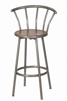 Just love this bar chair.  Reclaimed Teak Seat w/ Iron.  #Sleek #comfortable from #india chairsandstoolsdirect.com Bistro Chairs, Bar Chairs, Bar Stools, Antique Market, Teak Wood, Industrial Furniture, Iron, India, Steel