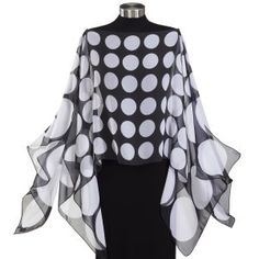White Polka Dot Scarf Top - Pyramid Collection