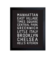 NEW YORK   City Typographic Print  A4  Gorgeous by LittleNatty