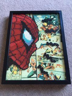Spider-Man framed pixel bead art 30x40cm (Perler Beads & Hama Beads) Marvel comics by CaveOfPixelsArt on Etsy https://www.etsy.com/uk/listing/457188092/spider-man-framed-pixel-bead-art-30x40cm