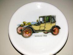 antiguo cenicero. marca limoges. imagen coche antiguo lanchester