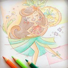 Tiki art print, hula girl, tropical art, modern, gift, abundance Tiki Art, Hula Girl, Tropical Art, Abundance, Princess Zelda, Art Prints, Unique Jewelry, Handmade Gifts, Modern