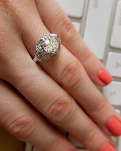 erstwhile jewelry vintage art deco engagement ring