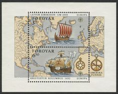 Faroe Islands #238 (06 Apr 1992) Souvenir Sheet,  Discovery of America Europa issue:   Viking longboat Leif Erikson;  Sailing ship of Christopher Columbus.           (stamps with no border line)