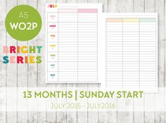 A5 Inserts 13month Jul 2015  Jul 2016 BRIGHT by OrganiseWithKatie