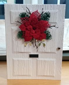 Christmas card made using a Crafters Companion embossing folder and Sue Wilson. Shared by Where YoUth Rise Homemade Christmas Cards, Christmas Poinsettia, Christmas Cards To Make, Noel Christmas, Christmas Paper, Xmas Cards, Christmas Greetings, Homemade Cards, Handmade Christmas
