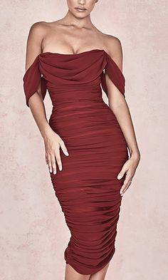 Queen Of Hearts Burgundy Short Sleeve Off The Shoulder Draped . Read more The post Queen Of Hearts Burgundy Short Sleeve Off The Shoulder Draped Ruched Bodycon Midi Dress appeared first on How To Be Trendy. Elegant Dresses For Women, Pretty Dresses, Sexy Dresses, Beautiful Dresses, Dress Outfits, Casual Dresses, Short Dresses, Fashion Dresses, Dresses With Sleeves