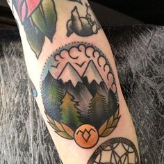 American traditional style mountains // mountainside. Such great line work and color by Cassandra Frances