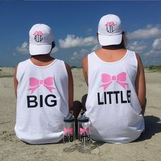 Super cute new Big/Little gear coming soon to our website! #big #little #sisters #family #love #tank #waterbottle #baseballhat #sassysorority