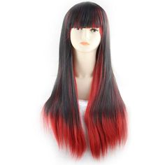 Black Red Highlight Gradient Full Bang Long Straight Cosplay Wig ($25) ❤ liked on Polyvore featuring beauty products, haircare and hair styling tools
