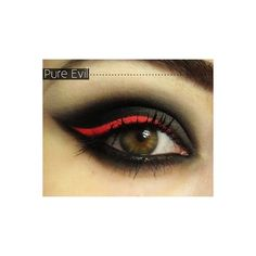 gothic eye, red eyeliner Make ups ❤ liked on Polyvore featuring beauty products, makeup, eye makeup, eyeliner, eyes and beauty