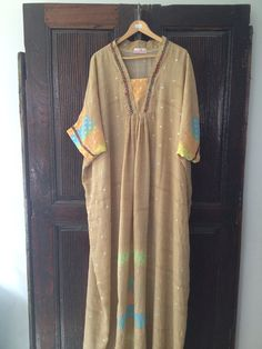 I LOVE ETSY Caftan neon chiffon sheer kaftan maxi dress