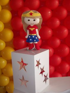 Adorable centerpiece at a Superhero birthday party!  See more party ideas at CatchMyParty.com!