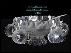 An Italian Interlude Glass Footed Punch Bowl complete with Cups and Ladle.