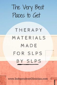 Great list of materials made for SLPS by SLPs via @GrayMatterTX @MyMunchBug
