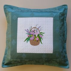 Cushion with Spring Flower Basket Embroidery £14.00