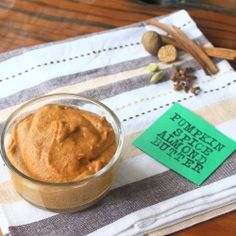 delicious and creamy, this pumpkin pie spread wont last long - vegan, low-gi. This is what recipe Nancee gave us. This will be my new favorite fall snack. Yum.