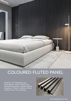 Beside using a wood slat wall panel for limit your matching interior wall . Do check out our new 5 coloured fluted panel. They will definitely help a lot in matching perfectly to your accent wall ideas . Mdf Wall Panels, Wood Panel Walls, Bedroom Wall Panels, Accent Wall Panels, Textured Wall Panels, Wood Slat Wall, Wood Slats, Black White Rooms, Mens Room Decor