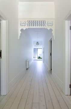 Image 4 of 46 from gallery of Elm & Willow House / Architects EAT. Vestibule, Hallway Decorating, Interior Decorating, Willow House, Edwardian House, Pine Floors, Floor Colors, House Wall, Architect House