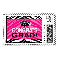 Hot Pink Zebra Congrats Girl's Graduation Party Stamp Postage