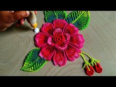 Colourful rose flowers rangoli for independence day special and raksha Bandhan rangoli by Jyoti Very Easy Rangoli Designs, Rangoli Simple, Indian Rangoli Designs, Rangoli Designs Latest, Free Hand Rangoli Design, Small Rangoli Design, Rangoli Ideas, Rangoli Designs With Dots, Rangoli Designs Images