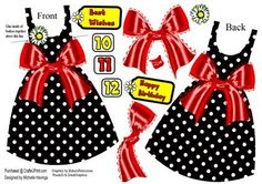 Black PolkaDot Dress Shaped Card Red Bow on Craftsuprint designed by Michelle Havinga - This is a dress shaped card with front and back with a red satin bow. There are age numbers from 10 to 6 and a choice of 2 different tags. - Now available for download!