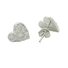 Delightful textured heart shaped stud earrings, imprinted with the delicate sunflower print pattern. These are great for adding elegance to every-day wear! Precious Metal Clay (PMC), also known as Silver Clay is a fascinating material. PMC is a combination of organic binders, water and microscopic particles of silver. It is formed into a desired shape, dried, sanded and then fired in a kiln. The firing process removes the binder and fuses the metal into a solid form. Working with PMC ...