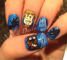 DIY Halloween Nails : 13 ghosts of Scooby-Doo! Love Nails, How To Do Nails, Pretty Nails, Funky Nails, Holloween Nails, Halloween Nail Art, Halloween Stuff, Beautiful Nail Designs, Cute Nail Designs