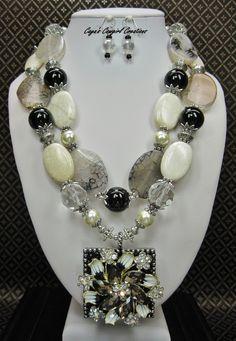 Black / White Chunky Statement Necklace Set / Cowgirl Necklace / Western Statement / Statement Jewelry / Gemstone Necklace - EboNy & IvoRY by CayaCowgirlCreations on Etsy