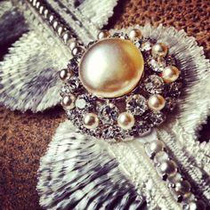 Bridal Garter: Art Deco Ivory Fan, Pearls, Swarovski Crystals. $68.00, via Etsy.
