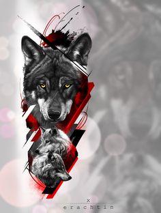 Wolf Tattoos, Tribal Wolf Tattoo, Tribal Sleeve Tattoos, Celtic Tattoos, Animal Tattoos, Men Tattoos, Geometric Tattoos, Phoenix Tattoo Men, Phoenix Tattoo Design