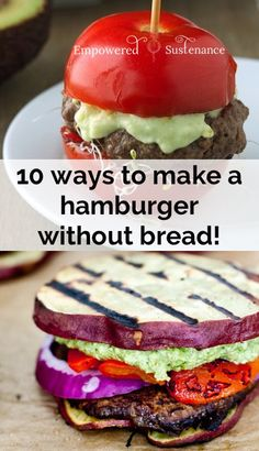 Hamburger Buns: 10 No-Bread Hamburger Ideas paleo hamburger buns - 10 ways to make a bread-free hamburger!paleo hamburger buns - 10 ways to make a bread-free hamburger! Paleo Recipes, Low Carb Recipes, Cooking Recipes, Paleo Hamburger Buns, Hamburger Ideas, Healthy Hamburger Recipes, Paleo Burger, Low Carb Burger, Healthy Snacks