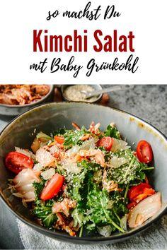 Kimchi Salat mit Sesam und Baby Kale - Kochen macht glücklich Superfood, Easy Peasy, Good Food, Brunch, Vegetarian, Favorite Recipes, Food Blogs, Dinner, Breakfast