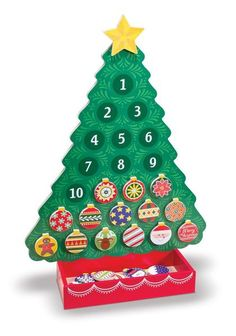 Magnetic Advent calendar Includes magnetic wooden tree, 24 magnetic ornaments…