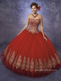 Collection: Quinceanera - Princess    STYLE: S17-4Q497         Strapless tulle quinceanera ball gown with sweetheart neck line, embroidery on bodice and bottom of skirt, basque waist line, and back with lace-up closure.