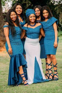 Fashion ideas for african fashion 659 African Bridesmaid Dresses, African Wedding Attire, African Dresses For Women, African Fashion Dresses, African Attire, African Women, African Wear, Sotho Traditional Dresses, South African Traditional Dresses
