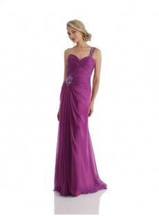 One Shoulder Floor Length Purple Chiffon Sheath Column Prom Dress