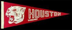 University of Houston _RARE_ 60's Pennant vtg NCAA College Cougars banner flag | eBay