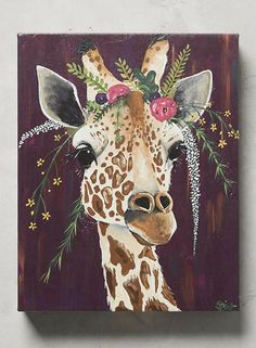 Giraffes are my favorite!  Love this artwork!  and the floral bouquet on her head!  Giraffe wall art, Floral wall art, home decor, home signs, safari animal sign, nursery decor, nursery wall art, safari nursery #ad