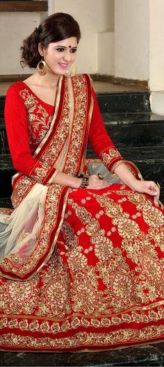 130045, Mehendi & Sangeet Lehenga, Silk, Stone, Patch, Lace, Zardozi, Red and Maroon Color Family
