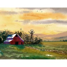 Barn Painting Watercolor landscape Painting Sunset by derekcollins