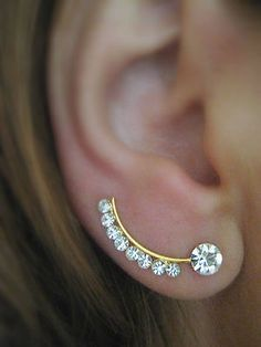 Ear Sweep Wrap - Cuff Earring with Swarovsky - Gold filled