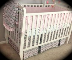 pink and grey crib bedding girls | Kate Crib Bedding - Modern PINK and GREY - Complete 6 piece set