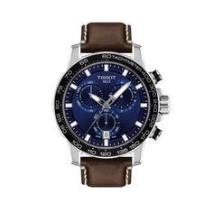 Ανδρικός ελβετικός σπορ χρονογράφος TISSOT Supersport T125.617.16.041.00 με καφέ δερμάτινο λουρί & μπλε καντράν | Ρολόγια TISSOT ΤΣΑΛΔΑΡΗΣ Χαλάνδρι #tissot #Supersport #ρολοι #tsaldaris Tissot Mens Watch, Gentleman, Brown Leather Strap Watch, Marken Logo, Supersport, Watch Model, Stitching Leather, Unisex, Cow Leather