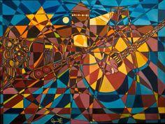 NUIT ET BROUILLARD Huile sur toile (102 cm X 76 cm) de l'artiste peintre Gabriel Landry.  www.gabriellandry.com Gabriel, Creations, Abstract, Artwork, Painting, Oil On Canvas, Night, Summary, Archangel Gabriel