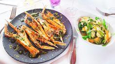 Langoustines sauce salmoriglio, salade d'artichaut et légumes de saison à savourer au restaurant le Café la Jatte à Neuilly sur Seine (92200) #food #langoustine #salade #artichaut #legume #produitdesaison