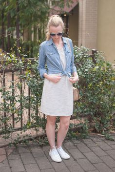 weekend casual look with a tshirt dress and a denim shirt
