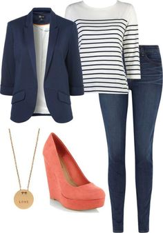 Blue blazer, striped shirt, blue jeans, coloured shoes and accessories